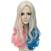 Netgo Pink and Blue long Wavy Wig Lolita Style Wig for Cosplay Costume Hallowenn Party