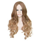 DEEKA Highlights Colours Long Curly Heat Friendly Synthetic Hair Wig for Women + Wig Cap + Wig Comb