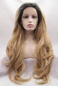 Ebingoo Synthetic Wavy Golden Blonde Ombre Wig Dark Roots Half Hand Tied Lace Front Wigs Heat Resistant Hair