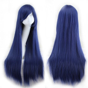Simpleyourstyle Wigs 80cm/31.5inch Cosplay Wigs For Women Straight Navy Blue Full Wigs