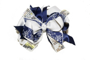 Chicky Chicky Bling Bling Large Sequin Boutique Hair Bow navy and silver
