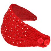 Simplicity Women's Winter Crochet Knit Headband with Pearl Beads, Bright Red