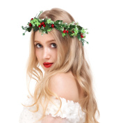 Valdler Vintage Berries Flower Crown Headband with Adjustable Ribbon for Party Red
