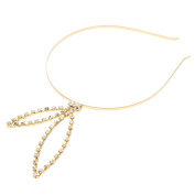 Rhinestone Bunny Ear Steel Headband - Gold