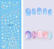 Nail Art Water Transfer Stickers Snowflake - DS130 Nail Sticker Tattoo - FashionDancing
