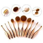 Rosabeauty 10 Pcs Super Soft Oval Toothbrush Makeup Brush Set Foundation Brushes Cream Contour Powder Blush Concealer Brush Makeup Cosmetics Tool Kit For Face And Eyes