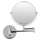 Excelvan 5x Magnification 20cm Double-Sided Swivel Wall Mount Makeup Mirror, 30cm Extension, Polished Chrome Finished