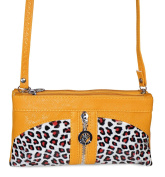 Yellow Leopard Print Wristlet Crossbody Bag