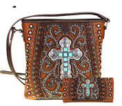 Montana West Boot Scroll Stone Cross Embroidery Design Crossbody Set