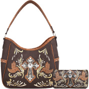 Cowgirl Western Women Concealed Carry Cross Peace Dove Country Purse Handbag Shoulder Bag Wallet Set BRN