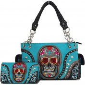 Western Cowgirl Day of The Dead Flower Rose Sugar Skull Punk Purse Handbag Shoulder Bag Wallet Set Turq