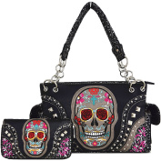 Western Cowgirl Day of The Dead Flower Rose Sugar Skull Punk Purse Handbag Shoulder Bag Wallet Set Black