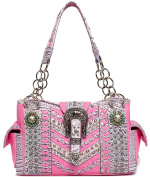Cowgirl Trendy Western Concho Concealed Carry Belts Buckle Chevron Whip Purse Handbag Shoulder Bag Pink