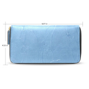 LEEZONE Femal Micro Fibre Leather Wallet DIY with Blue Oil Paint Printing Purse