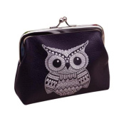 SANNYSIS Womens Owl Wallet Card Holder Coin Purse Clutch Handbag Black