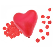 HDE 15cm Heart Shaped Balloons + Artificial Rose Flower Petals Red Valentine's Day Party Decoration