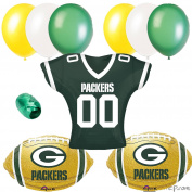 Green Bay Packer NFL Football Balloon Party 10pc Jeresy Balloon Pack