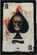 Ace of Spades Death Card Morale Patch. Perfect for your Tactical Military Army Gear, Backpack, Operator Baseball Cap, Plate Carrier or Vest. 5.1cm x 7.6cm Hook and Loop Patch. Made in the USA