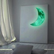 Ecosin 3D PVC Luminous Large Moon Fluorescent Wall Sticker Removable Glow In The Dark Stick