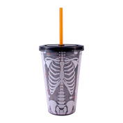 Silver Buffalo, LLC NO14087D Silver Buffalo Halloween Decapitated Skeleton Glow in the Dark Plastic Cold Cup with Lid and Straw, 470ml, Multicoloured