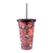 Silver Buffalo, LLC NO11087D Silver Buffalo Halloween Skulls and Orange Branches Glow in the Dark Plastic Cold Cup with Lid and Straw, 470ml, Multicoloured