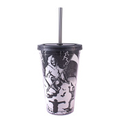 Silver Buffalo, LLC NO15087D Silver Buffalo Halloween Grim Reaper Glow in the Dark Plastic Cold Cup with Lid and Straw, 470ml, Multicoloured