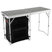 Coleman Folding 2-in-1 Camping Table and Storage, 122 x 48 x 74 cm - Grey/Black