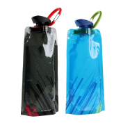 Collapsible Water Bottle Bag 700ML Portable Reusable Water Bag Water Container BPA Free Outdoor Sports Canteen Water Carrier for Hiking Travelling Camping Climbing, Pack of 2