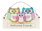 "Giftworks Hanging "" Welcome Friends"" Owls Sign/ Plaque"