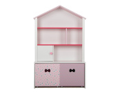LUCKUP Kids Furniture Children Wood 3-Tier Tall Shelf Bookcase with Two Removable Drawer, Pink