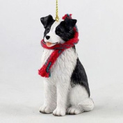 Simply Silver - LARGE 7.6cm BORDER COLLIE DOG CHRISTMAS ORNAMENT HOLIDAY Figurine Scarf gift