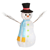 Nantucket Home Light-Up Tinsel Snowman with Twig Arms, Scarf and Tophat Indoor Outdoor Yard Decor, 90cm