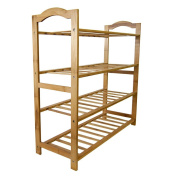 Genenic 100% Natural Bamboo 4-Tier Shoe Rack, Removable Shoe Shelf, Storage Organiser for Home Entryway