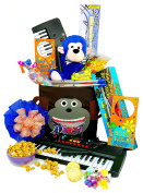 Music Monkey Gift Set - Kids Piano Electronic Keyboard with Microphone, Digital Air Drumsticks, Plush 25cm Monkey, Flute/Recorder, Toy Tambourine, Door Hanger, and More
