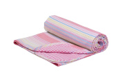 Henry and Brothers Double-layer Toddler Blanket, Pink Fun Stripes