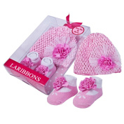Laribbons Infant Essentials Baby Girls Crochet Hat & Socks Gift Set