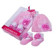Laribbons Infant Essentials Baby Girls Crochet Hat & Socks Gift Set