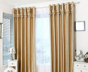 Luxury Gold Rose Embossing Pattern Blackout Insulated Window Treatments Drapes Curtains Set of 2 Panels 130cm x 220cm