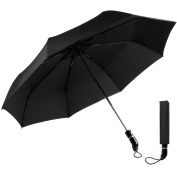 OXA Windproof Travel Umbrella, 110cm Auto Open / Close Umbrella One Handed Operation Umbrella Black - Lifetime Warranty