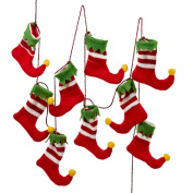 1.8m Red, White and Green Santa's Workshop Elf Stocking Christmas Garland