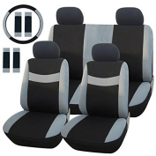 Car seat covers universal car steering wheel cover Seat Belt Pad Cover Protector Belt Cushion Universal Car Seat Cover Set Black/Grey