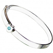 925 Sterling Silver December Birthstone Girls Christening Bangle with Free Engraving.