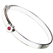 Heart to Heart 925 Sterling Silver July Birthstone Christening Bangle with Free Engraving. A great Christening Keepsake.