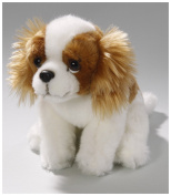 Soft Toy Cocker Spaniel Dog brown-white sitting 17cm . [Toy]