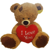 50cm Brown Patch Teddy Bear Soft Toy Plush Holding Big Red 'I Love You' Heart