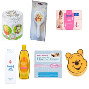 Baby Bundle 7 Pieces - 200 x Disney Cotton Buds -1 x Brush & Comb Set -1 x Fun Sponge - 1 Johnson's Baby Powder 200g - 250 x Fragranced Disposable Nappy Bags - 1 x Johnson's Baby Shampoo 300ml & 56 Baby Wipes