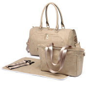 Miss Lulu 3 Piece Baby Nappy Nappy Changing Bag Set Large Shoulder Handbag PU Leather Tote Beige