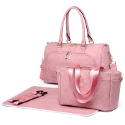 Miss Lulu 3 Piece Baby Nappy Nappy Changing Bag Set Large Shoulder Handbag PU Leather Tote Pink