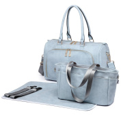 Miss Lulu 3 Piece Baby Nappy Nappy Changing Bag Set Large Shoulder Handbag PU Leather Tote Light Grey
