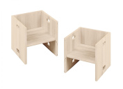 Savings set 2 white Elena Cubes, biological solid pine wood